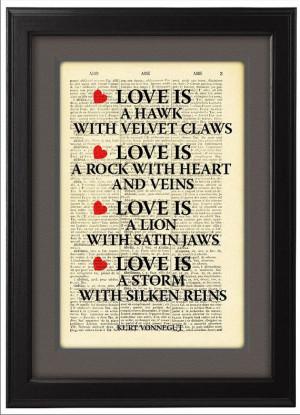 Love, Kurt Vonnegut Quote, Typographic print, art poster, Dictionary ...