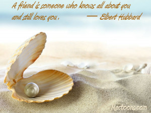 ... Friendship Quotes: An Open Shell With A Pearl With Friendship Quote