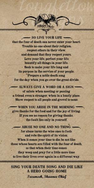 Poem by Tecumseh, American Shawnee Chief. 10 x 20 Kraft Look Print ...