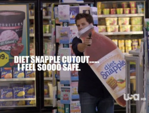 3000, funny, gun, james roday, psych, snapple, usa network