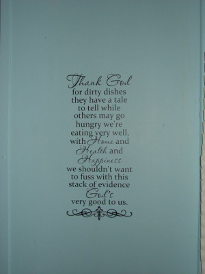 Thank God for dirty dishes, matte finish vinyl wall quote saying decal