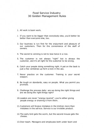 30 golden rules of successful restaurant operation