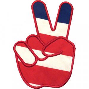 Peace Hand Sign Applique Design