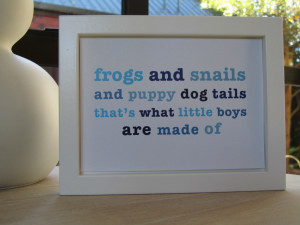 Frogs & Snails Nursery Rhyme Quote Blue - Baby Boys Room Wall Art