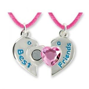 Best Friends Forever Twin Pendants in Keepsake Boxes Pink Heart Girls ...