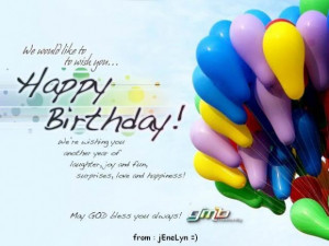 We would like to wish you happy birthday birthday quote