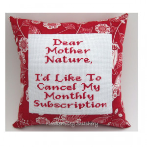 Cross Stitch Pillow Funny Quote, Red Pillow, Mother Nature Quote