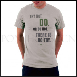 DIY Style STAR WARS YODA QUOTE lines try not or do not T-shirt cotton ...