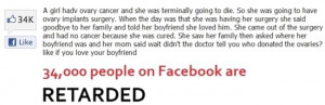 Sometimes people on Facebook can be retarded
