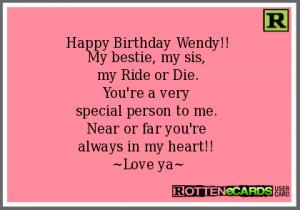Happy Birthday Wendy My bestie my sis my Ride or Die You 39 re a very