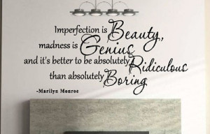 Details about IMPERFECTION IS BEAUTY MARILYN MONROE QUOTE VINYL WALL ...