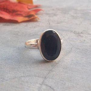 Blue sapphire ring - Sapphire Cabochon ring - Bezel set sapphire ring