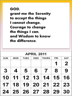 ... April 2011 Calendar with inspirational quote or encouragement quote