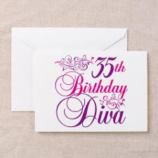 35th Birthday Diva Greeting Cards (Pk of 20) for
