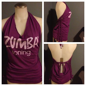 Zumba Toning T Shirt Halter Top in Purple Customized Sides SM LG ...