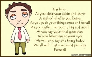Sweet goodbye poem to boss from co-workers and colleagues