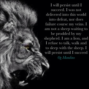 Og Mandino Lion Quote - Lions Head image