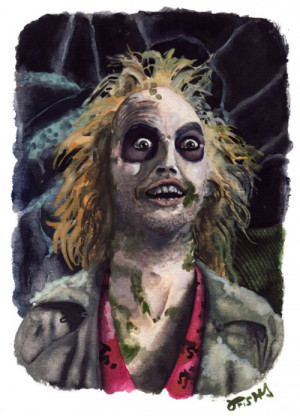 Here is a watercolor portrait of Michael Keaton as Beetlejuice for The ...