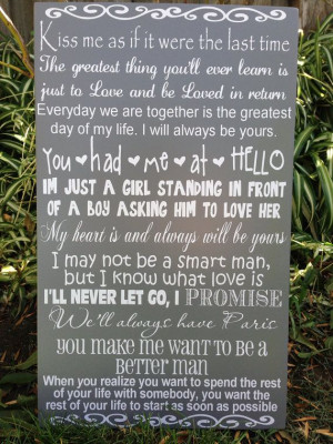 Movie Love Quotes Wood Sign 12