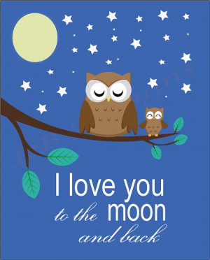 love you to moon and back Owl Nursery Quote Print - 8x10