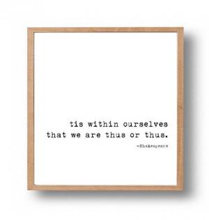 William Shakespeare Quote Literary Wall Print, Classic Typewriter ...