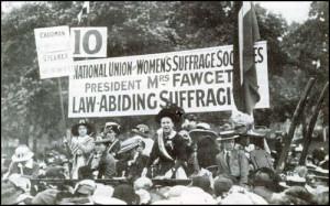 Millicent Garrett Fawcett addressing the crowds in Hyde Park at ...