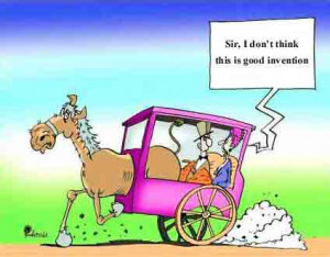 Funny cartoon picture of invention of wild horse 4x4