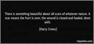 is something beautiful about all scars of whatever nature. A scar ...
