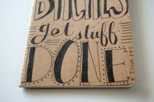 hand lettered moleskine. tina fey quote. black ink. ruled paper. gift ...