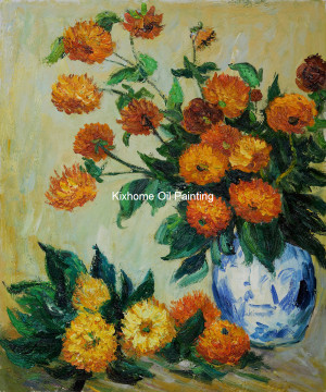 Dahlias-by-Monet-reproduction-oil-paintings-Famous-monet-wall-arts-for ...