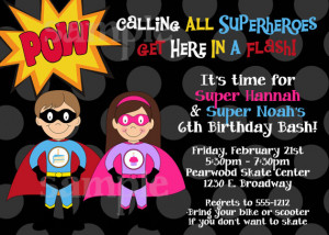 Superhero Birthday Invitation Boy Girl Superhero Birthday Party ...