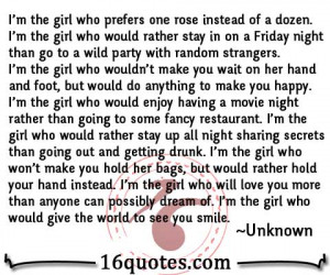 Im The Type Of Girl Quotes I'm the girl who prefers one