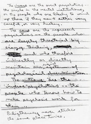 Kerry Thornley hand-written note, The Outsane: Enlightening Never ...