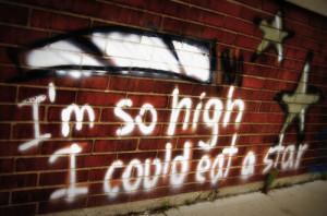 art, graffiti, high, joint, marijuana, spray paint, stars, weed
