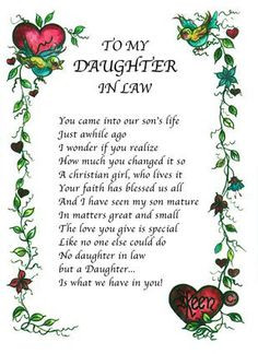 Quotes+About+Daughters+In+Law | To My Daughter-In-Law Wall Photo with ...