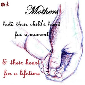 Mother hold their child's hand for a moment and their heart for a ...