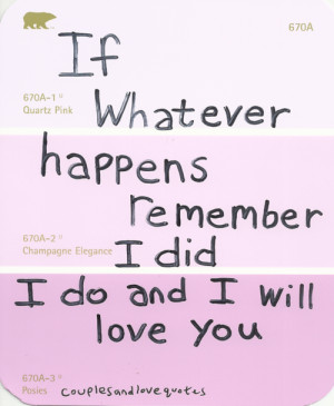 If Whatever Happens Remember I Did I do And I Will Love You