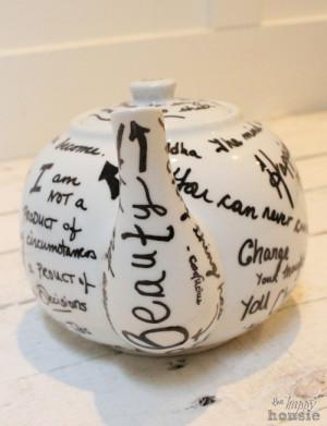 Mother's Day Gift Idea: DIY Sharpie Quote Tea Pot