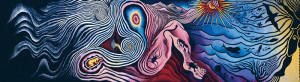 Judy Chicago The Creation 1984 wool, silk and gold threads 42 x 168 ...
