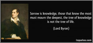... deepest, the tree of knowledge is not the tree of life. - Lord Byron