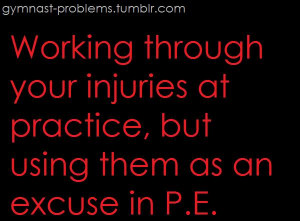 Working through your injuries atpractice but using them as an excuse ...