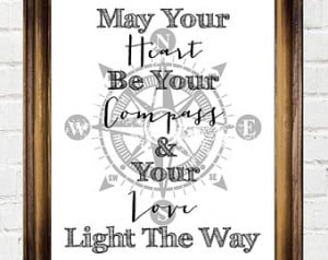 , Nautical Quote, Chalkboard Wall Art, Heart Be Your Compass Love ...