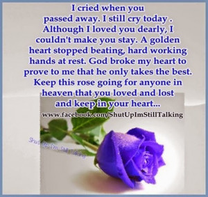 Passed away quotes, I Cried when you passed away