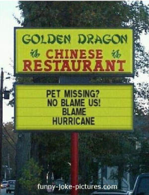 Funny Chinese Restaurant Pet Hurricane Sign Picture - Golden Dragon ...