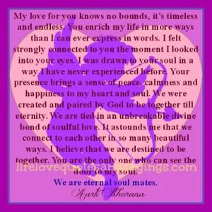 Eternal Love Quotes Eternal soulmates.. my love