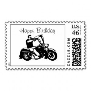 Motorcycle - Happy Birthday Postage Stamps