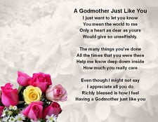 Fridge Magnet Personalised Godmother Poem - Pink Floral design + FREE ...