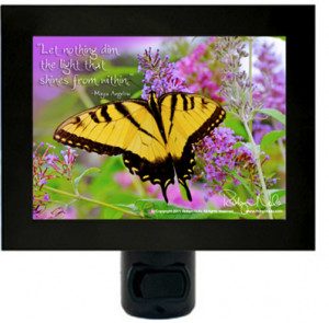 """The Light From Within"""" Butterfly Inspirational Quote Night Light"""