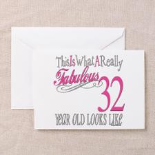 32nd Birthday Gifts Greeting Card for