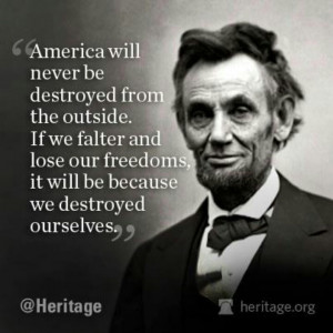 Abraham Lincoln and his prophetic words.